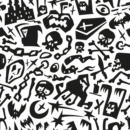 Halloween monsters - seamless pattern with icons Vector