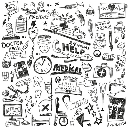 Medicine - set icons in sketch style