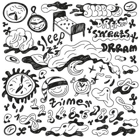 nights: nights sleep - set icons in sketch style