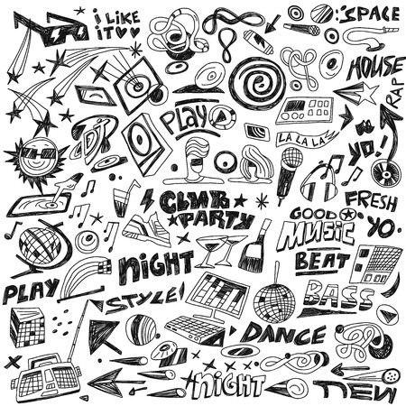 club dj: music party  -  set icons in sketch style