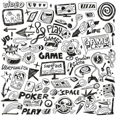 handheld device: computers games -  set icons in sketch style Illustration