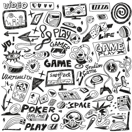 computers spelletjes - set pictogrammen in schets stijl