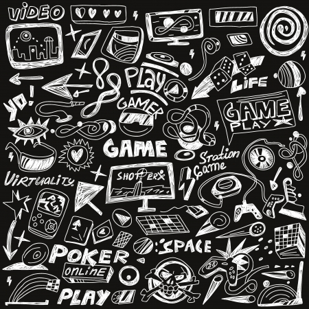 computers games -  set icons in sketch style Illustration