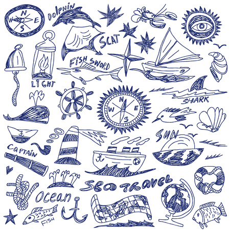 sea travel - set icons in sketch style Vector
