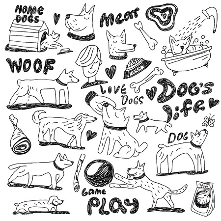 game meat: dogs - icons in sketch style