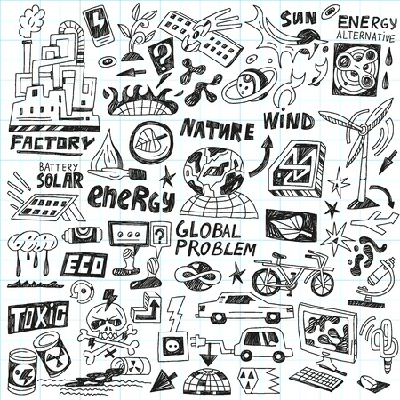 ecology - set icons in sketch style Stock Vector - 22735291
