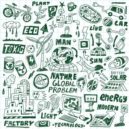 arbol de problemas: ecología - conjunto de iconos en el estilo de dibujo Vectores