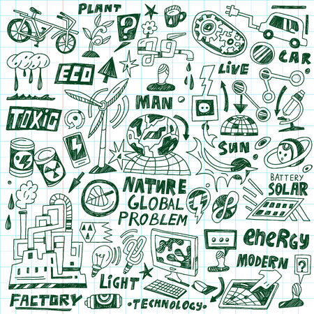 ecology - set icons in sketch style Stock Vector - 22735295