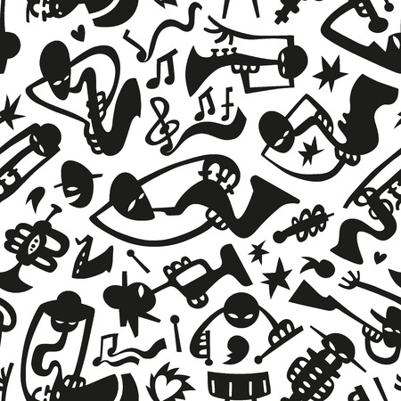 Jazz musicians play on tubes - seamless pattern Vector