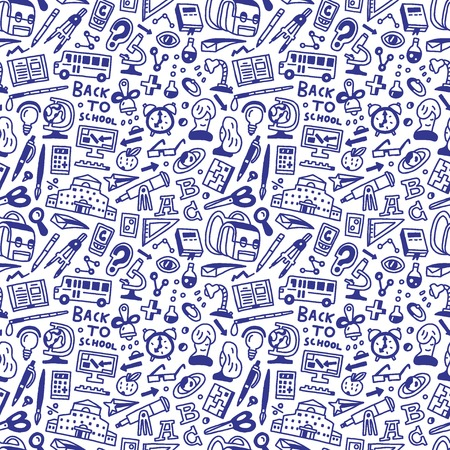 School education - seamless pattern with icons in sketch style Vector