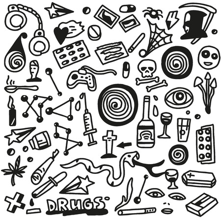 heroine: drugs-doodles set Stock Illustratie