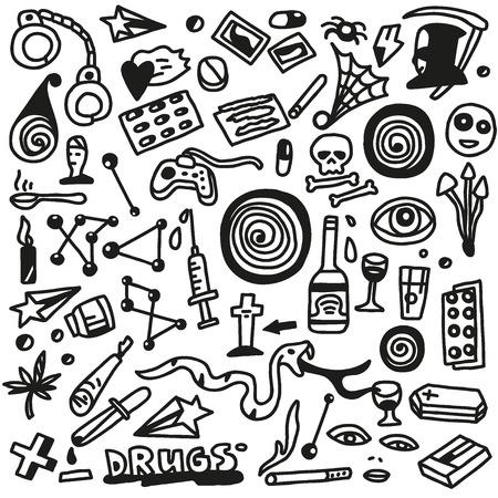 methamphetamine: drugs- doodles set Illustration
