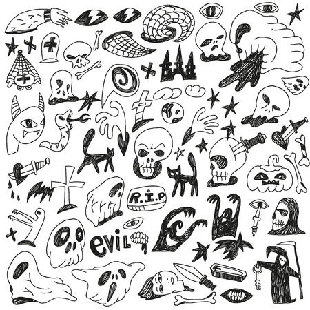 Halloween , evil , monsters - doodles set Vector
