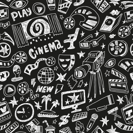 cinematographer: cinema - seamless pattern with icons in sketch style