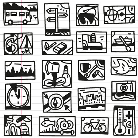Camping -set icons in sketch style Vector