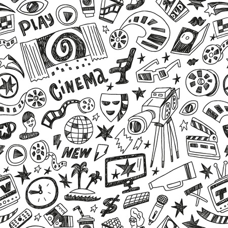 cinema - seamless pattern with icons in sketch style Vector