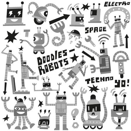 space robot: Robots - set vector icons