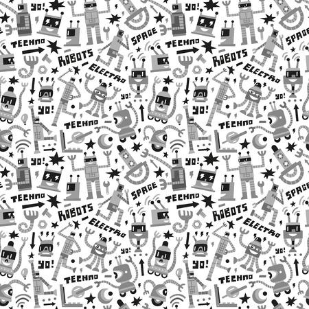 Robots - seamless background Illustration
