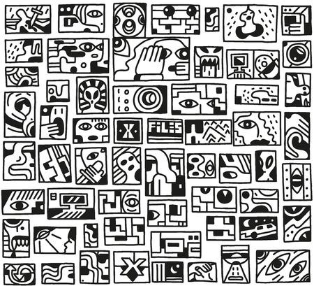 paranormal: paranormal things, secret, crime - doodles set