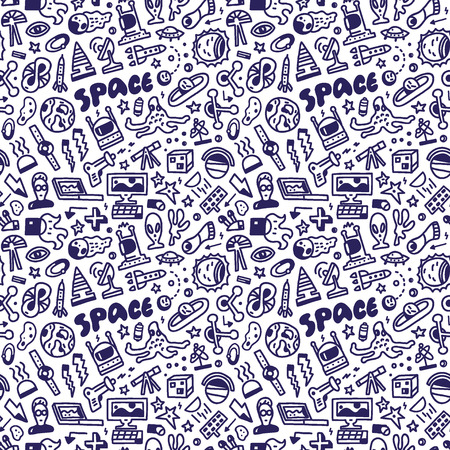 space - seamless background with icons Vector