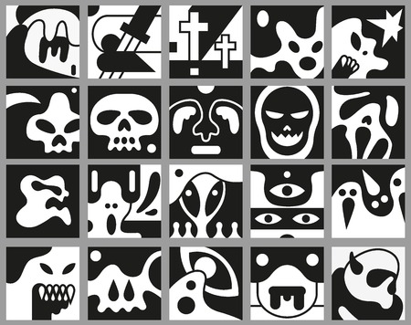 Monsters vector icons, avatars in black - doodles set Vector