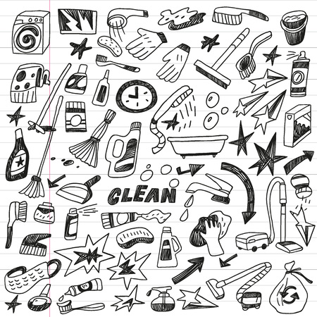 scrubbing up: cleaning tools doodles