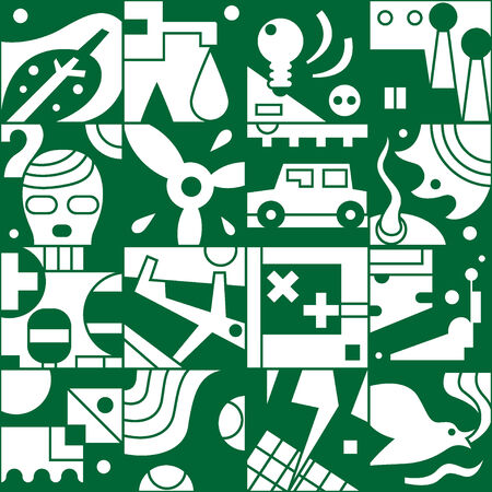 ecology - seamless background with icons Vector