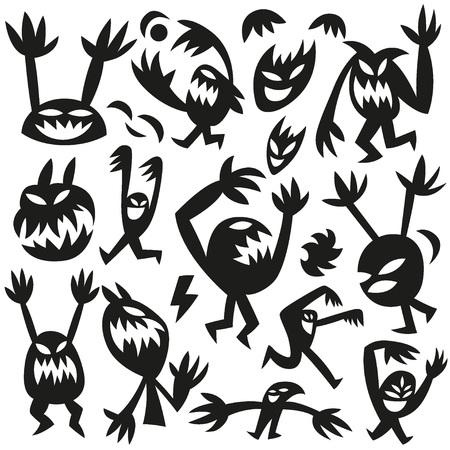 funny monsters - big doodles vector set Vector