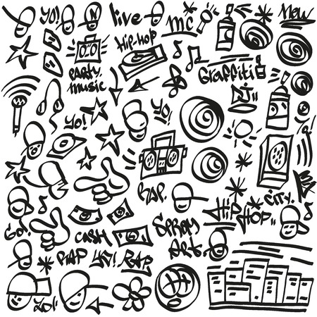 rap,hip hop symbols - doodles set vector cartoons Vector