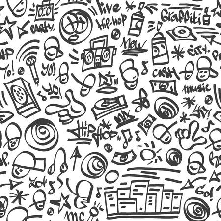 rap: rap,hip hop symbols - seamless backrond with icons