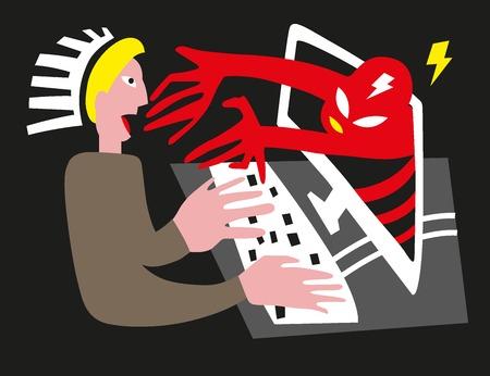 man and computer virus, hacker - vector illustration