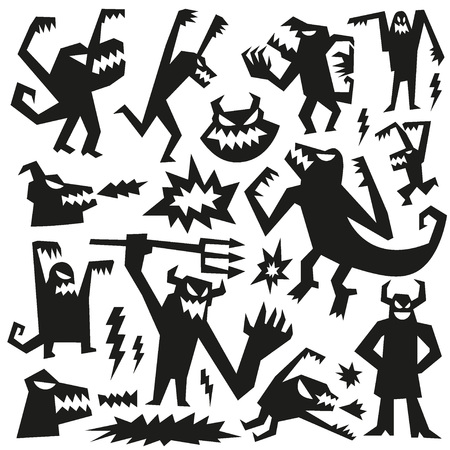 monsters - set vector icons ,collection cartoons characters