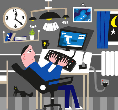 Man working at the computer. Vector illustration. Vector