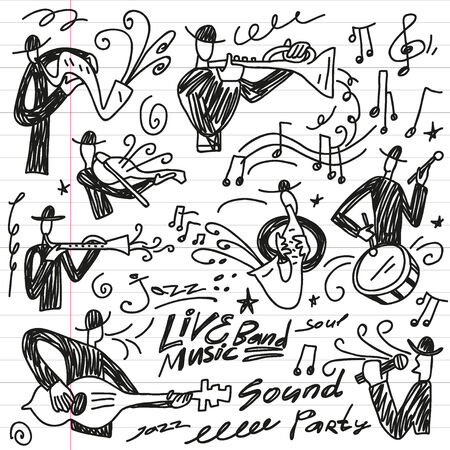 musician silhouette: abstract musicians - doodles set icons in sketch style