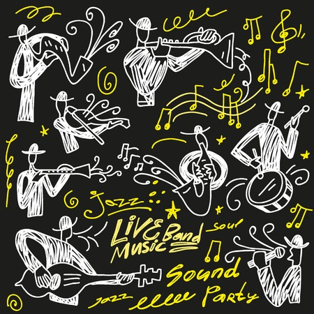 abstract musicians - doodles set icons in sketch style