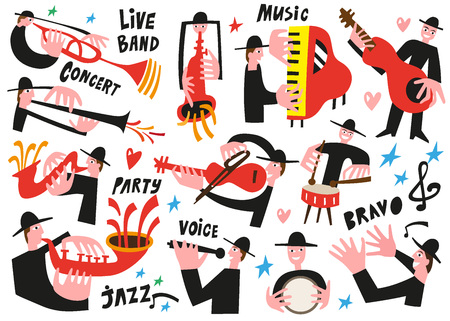 jazz musicians - vector illustration set icartoons Vector