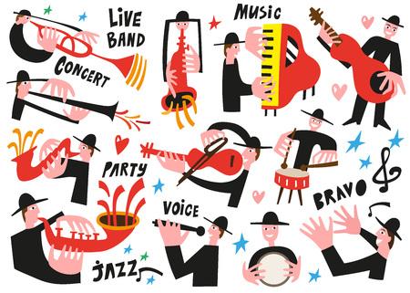 pianist: jazz musicians - vector illustration set icartoons