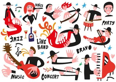 tuba: jazz musicians - vector illustration set icartoons