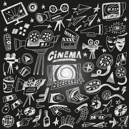cinematographer: cinema doodles , set vector icons in sketch style
