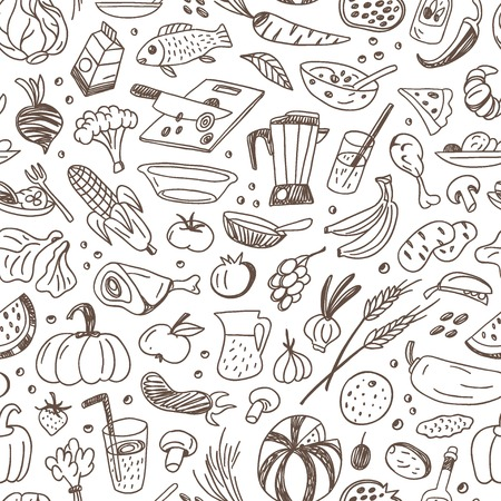 raw food: raw food - seamless background with icons in sketch style Illustration