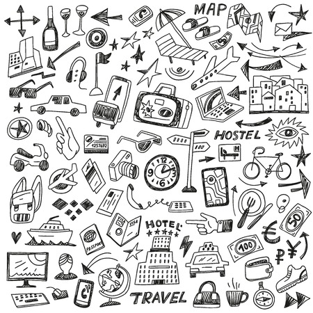travel - set vector icons in sketch style