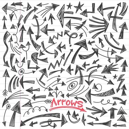 arrows - set hand drawn doodles vector