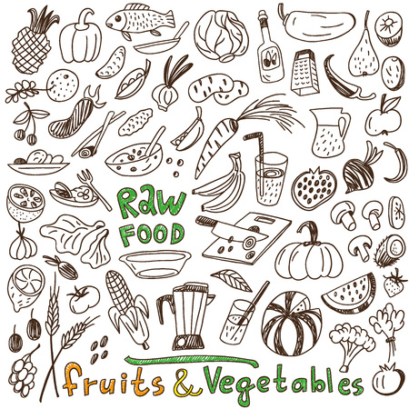 raw food: raw food - set icons in sketch style Illustration