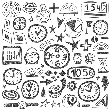 Time Doodles - set icons in sketch style Vector