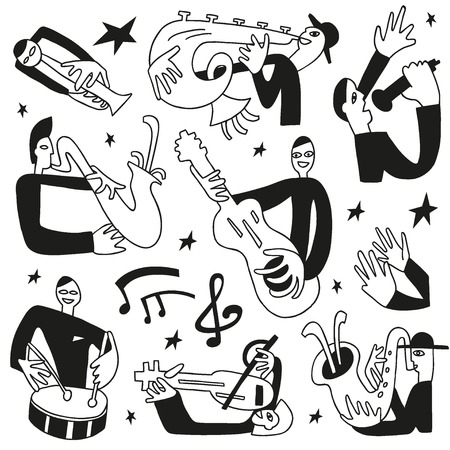 jazz musicians - doodles set icons in sketch style