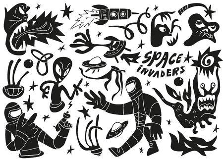 invaders: Invasores del espacio, extranjeros - establecer cajas de vectores
