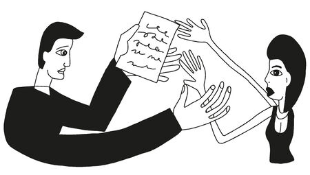 mobbing: marriage contract - vector illustration in sketch style Illustration