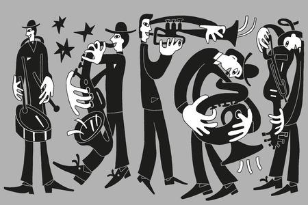 jazz musicians - vector drawing illustration cartoon 向量圖像