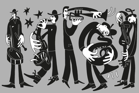 jazzmusici - vector tekening illustratie cartoon