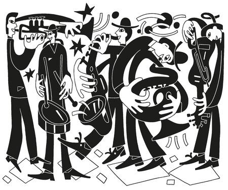 tuba: jazz musicians - vector drawing illustration cartoon Illustration